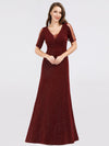 A-Line V-Neck Short Sleeve Sequins Evening Dresses Ep07925-Burgundy 1
