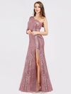 One Shoulder Sequins Bodycon Evening Party Maxi Dresses Ep07926-Purple Orchid 3