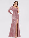 One Shoulder Sequins Bodycon Evening Party Maxi Dresses Ep07926-Purple Orchid 4