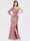One Shoulder Sequins Bodycon Evening Party Maxi Dresses Ep07926-Purple Orchid 1