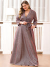 Plus Size Shiny Evening Dresses For Women Ep07950-Burgundy 3