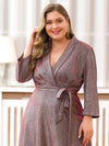 Plus Size Shiny Evening Dresses For Women Ep07950-Burgundy 5