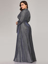 Plus Size Shiny Evening Dresses For Women Ep07950-Navy Blue 2