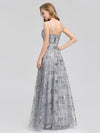 V-Neck Sequin Dress Side Split Floor Length Evening Dresses Ep07957-Grey 2