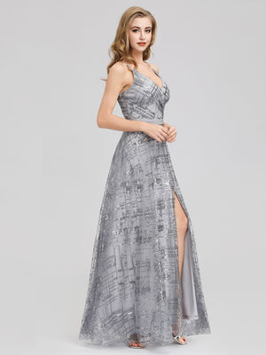 Ever-Pretty V-Neck Sequin Dress Side Split Floor Length Evening Dresses EP07957