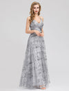 V-Neck Sequin Dress Side Split Floor Length Evening Dresses Ep07957-Grey 4