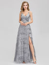 V-Neck Sequin Dress Side Split Floor Length Evening Dresses Ep07957-Grey 1