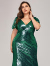 Women'S V-Neck Short Sleeve Glitter Dress Bodycon Mermaid Dress-Dark Green 5