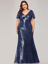 Women'S V-Neck Short Sleeve Glitter Dress Bodycon Mermaid Dress-Navy Blue 4