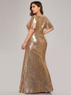 V-Neck Short Sleeve Glitter Dress Bodycon Mermaid Dresses Ep07988-Rose Gold 2