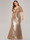 V-Neck Short Sleeve Glitter Dress Bodycon Mermaid Dresses Ep07988-Rose Gold 3