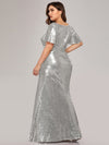 V-Neck Short Sleeve Glitter Dress Bodycon Mermaid Dresses Ep07988-Silver 2