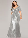 V-Neck Short Sleeve Glitter Dress Bodycon Mermaid Dresses Ep07988-Silver 3