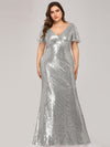 V-Neck Short Sleeve Glitter Dress Bodycon Mermaid Dresses Ep07988-Silver 4