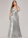 V-Neck Short Sleeve Glitter Dress Bodycon Mermaid Dresses Ep07988-Silver 1