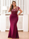 V-Neck Sequin Dress Evening Party Mermaid Dresses Ep07989-Burgundy 1