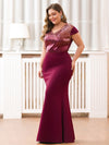V-Neck Sequin Dress Evening Party Mermaid Dresses Ep07989-Burgundy 3