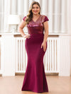 V-Neck Sequin Dress Evening Party Mermaid Dresses Ep07989-Burgundy 4