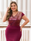 V-Neck Sequin Dress Evening Party Mermaid Dresses Ep07989-Burgundy 5