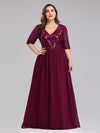 Mother Of Bride/Groom Dresses With Half Sleeve Ep07992-Burgundy 6
