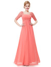 Deep V-Neck Shoulders Long Evening Dress Ep08038-Coral 2