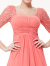 Deep V-Neck Shoulders Long Evening Dress Ep08038-Coral 3