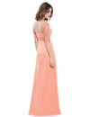 Deep V-Neck Shoulders Long Evening Dress Ep08038-Peach 3