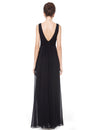 Elegant Deep V-Neck Maxi Long Wholesale Evening Gowns For Women-Black 4