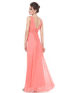 Elegant Deep V-Neck Maxi Long Wholesale Evening Gowns For Women-Coral 2