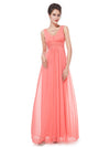 Elegant Deep V-Neck Maxi Long Wholesale Evening Gowns For Women-Coral 1