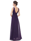 Elegant Deep V-Neck Maxi Long Wholesale Evening Gowns For Women-Dark Purple 4