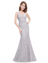 Women'S Sexy V-Neck Long Fishtail Evening Dress Ep08838-Grey 3