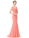Women'S Sexy V-Neck Long Fishtail Evening Dress Ep08838-Peach 4