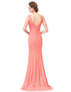 Women'S Sexy V-Neck Long Fishtail Evening Dress Ep08838-Peach 2
