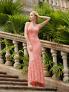 Women'S Sexy V-Neck Long Fishtail Evening Dress Ep08838-Peach 1