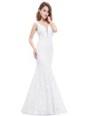 Women'S Sexy V-Neck Long Fishtail Evening Dress Ep08838-White 4