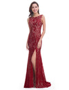 Women'S Elegant Sleeveless Long Evening Dress Ep08859-Burgundy 1