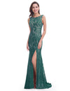 Women'S Elegant Sleeveless Long Evening Dress Ep08859-Dark Green 4