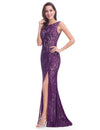 Women'S Elegant Sleeveless Long Evening Dress Ep08859-Dark Purple 3