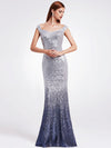Women Elegantand Graceful Sequin Long Sparkle Evening Dresses Ep08999-Grey 1