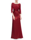 Elegant 3/4 Sheer Sleeves Lace Scalloped Neckline Women'S Long Black Evening Dress Ep09882-Burgundy 1