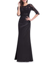 Elegant 3/4 Sheer Sleeves Lace Scalloped Neckline Women'S Long Black Evening Dress Ep09882-Black 4