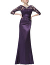 Elegant 3/4 Sheer Sleeves Lace Scalloped Neckline Women'S Long Black Evening Dress Ep09882-Dark Purple 1