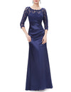 Elegant 3/4 Sheer Sleeves Lace Scalloped Neckline Women'S Long Black Evening Dress Ep09882-Navy Blue 1
