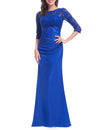 Elegant 3/4 Sheer Sleeves Lace Scalloped Neckline Women'S Long Black Evening Dress Ep09882-Sapphire Blue 4