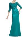 Elegant 3/4 Sheer Sleeves Lace Scalloped Neckline Women'S Long Black Evening Dress Ep09882-Turquoise 4