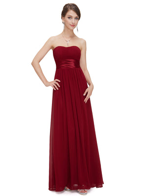 Ever-Pretty Strapless Ruched Bust Burgundy Chiffon Long Evening Dress EP09955