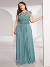 Lacey Neckline Open Back Ruched Bust Plus Size Evening Dresses-Dusty Blue 3