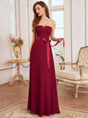 Simple Off Shoulder Wholesale Maxi Bridesmaid Dress-Burgundy 6