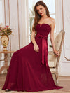 Simple Off Shoulder Wholesale Maxi Bridesmaid Dress-Burgundy 7